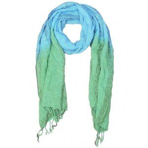 [5-43] green & blue colorblock fringe scarf